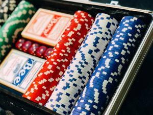 Close up of cards and poker chips used in gaming careers