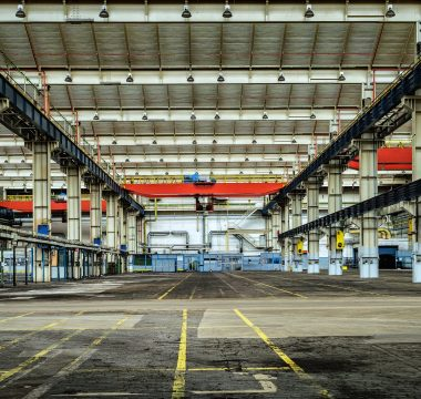 This industrial environment could benefit from a low profile scissor lift.