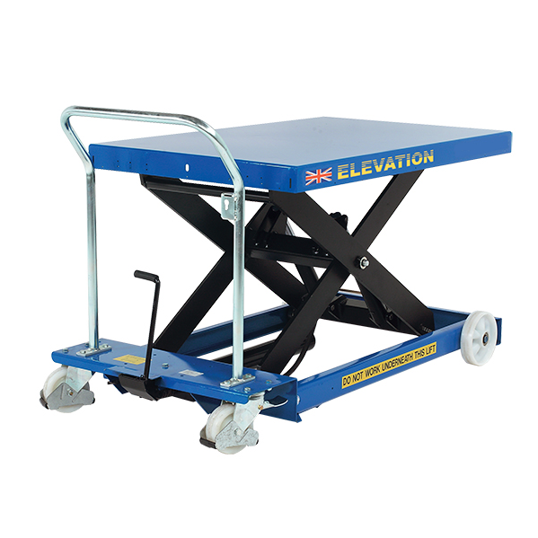 A low profile scissor lift like this can help you to move and store your goods.